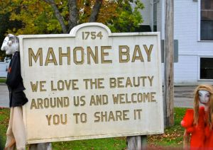 Mahone Bay in Nova Scotia has a welcome sign that tells us what matters to them.