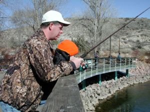 This fishing dock at the Pueblo Nature Center was funded by a grant developed by the collaborative planning group.