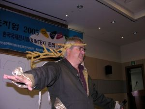 Scott Mair of Canada had a totally engaged audience as he portrayed Elvis the Elk as we shared interpretive training methods in Korea in 2006.