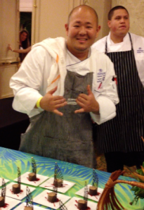 A Waikoloa Hilton chef shows off the great chocolate torte.