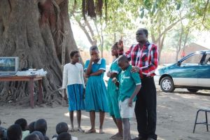 Mike Gondwe has young people in Chikwawa laughing and enjoying his program about the dangers of HIV.