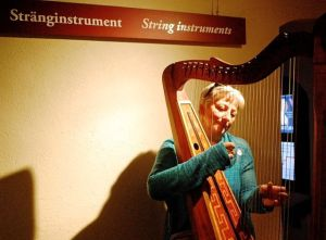 Lisa tried the harp and liked it a lot.