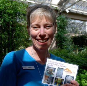 This simple nametag invites  guests to chat with Nancy and her smile is welcoming at Longwood Gardens in Philadelphia.