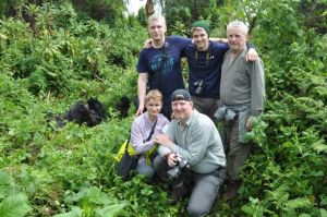Four Czech friends in the Hausenblas family and our grandson Tim (standing center) were the hardy hikers who hiked higher and further to see gorillas.