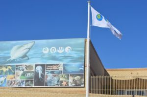 The Aquarium of Western Australia in Perth has a banner at the building entry to attract attention.