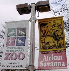 At Cleveland Metroparks Zoo, one banner provides the branding and the other helps you identify the exhibit's theme.