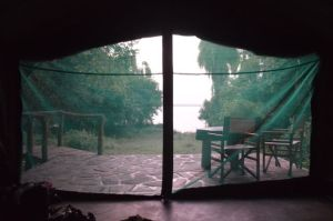 The view from our bed at Ruzizi Tented Lodge.