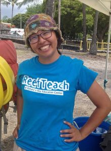 Yi Pei, a student and volunteer from Taiwan donates time with ReefTeach to gain experience.