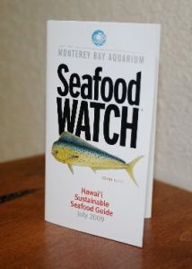 Monterey Bay Aquarium's Seafood Watch program helps people remember which fish are sustainably harvested with a handy pocket guide.