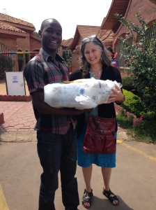 Dr. Beth Kaplin delivered the two laptops recently to Gilbert in Rwanda.
