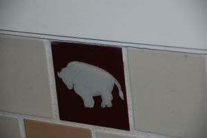 Tile in bathroom at Xanterra operated lodge in Yellowstone National Park.