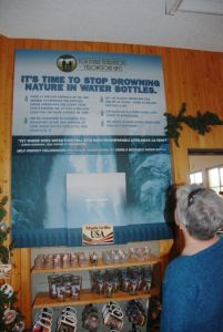 Xanterra also employs exhibits in the gift shop to encourage thoughtful choices in using water bottles.