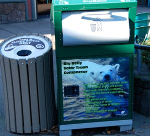 Even a solar trash compactor can tell its story.