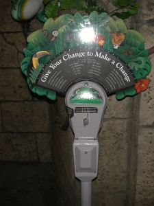 The Rainforest Cafe invites donations through a unique use of a parking meter with a clear message.
