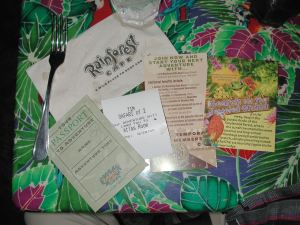 Rainforest Cafe uses messaging in varied creative ways with napkins, table tents and menus.