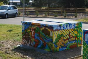 Even electrical utility box in Old Town Fort Collins is a location for a mural, a visual message.