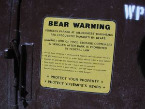 A well thought out message on a food lockbox at Yosemite reminds people to protect the bears and yourself by storing food properly.