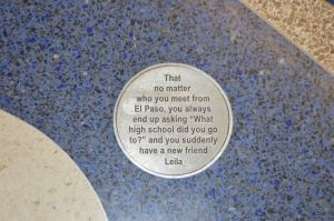 The El Paso Airport places memorable messages from their tourists in the floor for new arrivals to read near the baggage claim.