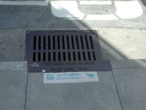 Even the sewer grate in Monterey has a message about where dumped liquids go in the environment.