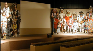 The people of the Warm Springs area are shown on life-size cutouts behind the museum stage reminding you that the Paiute and Wasco people still live nearby.
