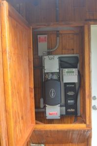 An Outback Invert regulates the system and converts the DC storage to AC current for the home.