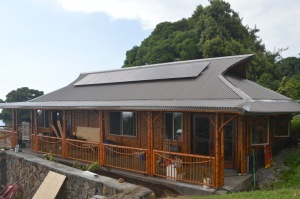 Our bali-style bamboo house has nine 275 watt photovoltaic solar panels.