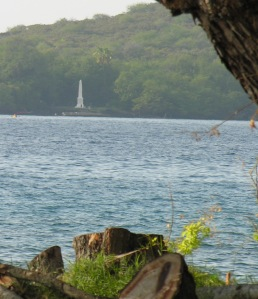 Cook's monument is visible from any point on Kealakekua Bay.
